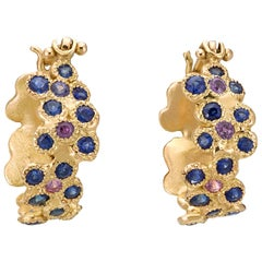 Blue Sapphires Pink Sapphires 18 Karat Yellow Gold Earrings