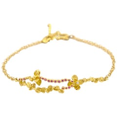 Diamond Pink Sapphires 18 Karat Yellow Gold Bracelet