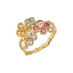 Anais Rheiner Diamonds Yellow Sapphires Paraibas 18 Karat Yellow Gold Ring