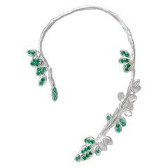 Emerald 18 Karat White Gold Earring