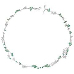 Anais Rheiner Emerald 18 Karat White Gold Necklace