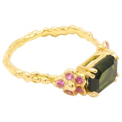 Green Tourmaline Pink Sapphires 18 Karat Yellow Gold Ring