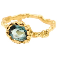 Indicolite Tourmaline 18 Karat Yellow Gold Ring made in Paris