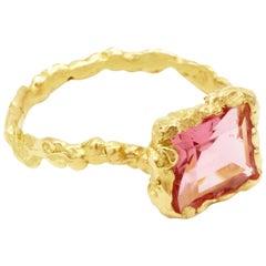 Pink Tourmaline 18 Karat Yellow Gold Ring