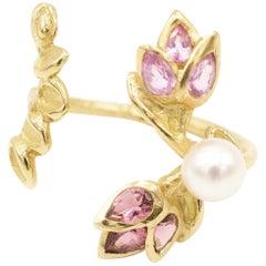 Pink Tourmalines Pink Sapphires Pearl 18 Karat Yellow Gold Ring