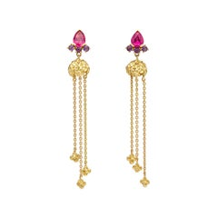 Rubellite Tourmaline Amethyst 18 Karat Yellow Gold Earrings