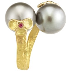 Tahiti Pearls and Rubies 18 Karat Yellow Gold Ring