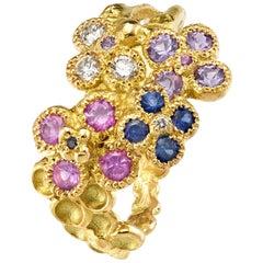 Anais Rheiner Violet Blue Pink Sapphires Diamonds 18 Karat Yellow Gold Ring