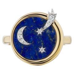 AnaKatarina 18 Karat Gold, Chilean Lapis, and Diamond Elements 'Air' Ring