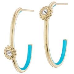 AnaKatarina 18 Karat Gold, Diamond and Enamel 4 Element 'Water' Hoop Earrings