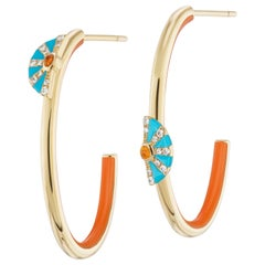 AnaKatarina 18 Karat Gold, Diamond and Fire Opal 4 Elements 'Fire' Hoop Earrings