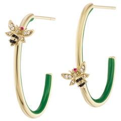 AnaKatarina 18 Karat Gold, Diamond and Ruby 4 Elements 'Earth' Hoop Earrings