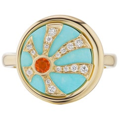 """Anakatarina 18 Karat Gold Fire Opal, Turquoise, and Diamond Elements """"Fire' Ring"""