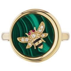 AnaKatarina 18 Karat Gold, Ruby. Enamel, and Diamond Elements 'Earth' Ring