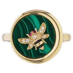 AnaKatarina 18 Karat Gold, Ruby, Enamel, and Diamond Elements 'Earth' Ring