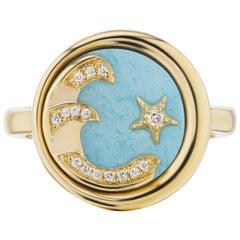 AnaKatarina 18 Karat Gold, Turquoise, and Diamond Elements 'Water' Ring