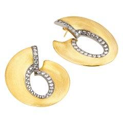 AnaKatarina 18 Karat Yellow and White Gold with Diamonds Creole Hoops