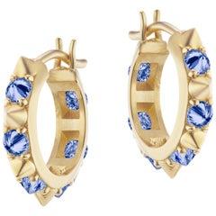 AnaKatarina 18 Karat Yellow Gold and Blue Sapphire Huggie Hoops