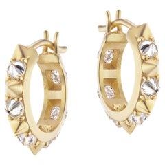 AnaKatarina 18 Karat Yellow Gold and Diamond Huggie Hoops
