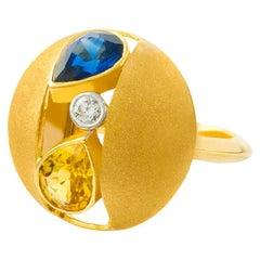 AnaKatarina 18 Karat Yellow Gold, Blue and Yellow Sapphire, and Diamond Ring