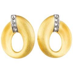 AnaKatarina 18 Karat Yellow Gold, Palladium with Diamonds Mini Creole Hoops