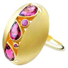 AnaKatarina 18 Karat Yellow Gold, Pink Tourmaline and Pink Sapphire Ring