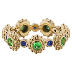 AnaKatarina 18 Karat Yellow Gold, Tsavorite Garnet and Sapphire 'Eternity' Band