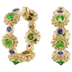 AnaKatarina 18 Karat Yellow Gold, Tsavorite Garnet and Sapphire 'Eternity' Hoops