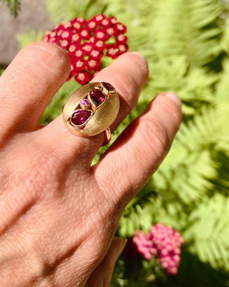 AnaKatarina 18 Karat Yellow Gold, Pink Tourmaline and Pink Sapphire Ring In New Condition For Sale In Dedham, MA
