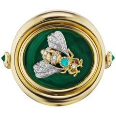 "AnaKatarina 4 Elements ""Earth"" Ring w/Malachite, Emerald, Ruby, Black Opal, Gold"
