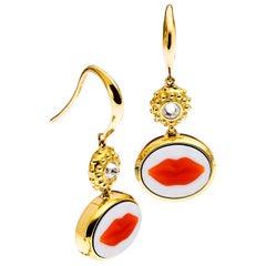 AnaKatarina Brazilian Red Agate, 18 Karat Yellow Gold and Diamond 'Lip' Earrings