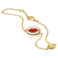 AnaKatarina Brazilian Red Agate, 18k Gold, and Diamond 'Lips' Charm Bracelet