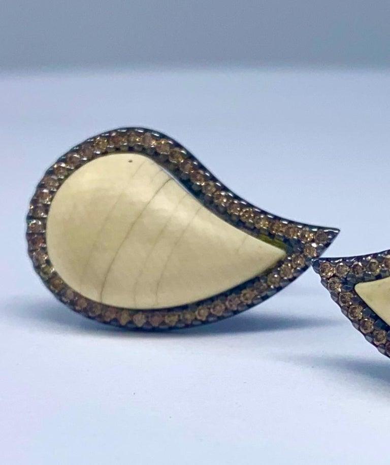 Women's or Men's AnaKatarina Cognac Diamond and Mammoth 'Ishq' Cufflinks For Sale