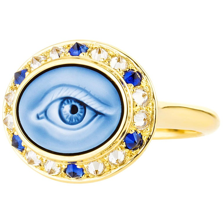 AnaKatarina Customizable Carved Agate Cameo, 18k Gold, Diamonds 'Eye Love' Ring For Sale