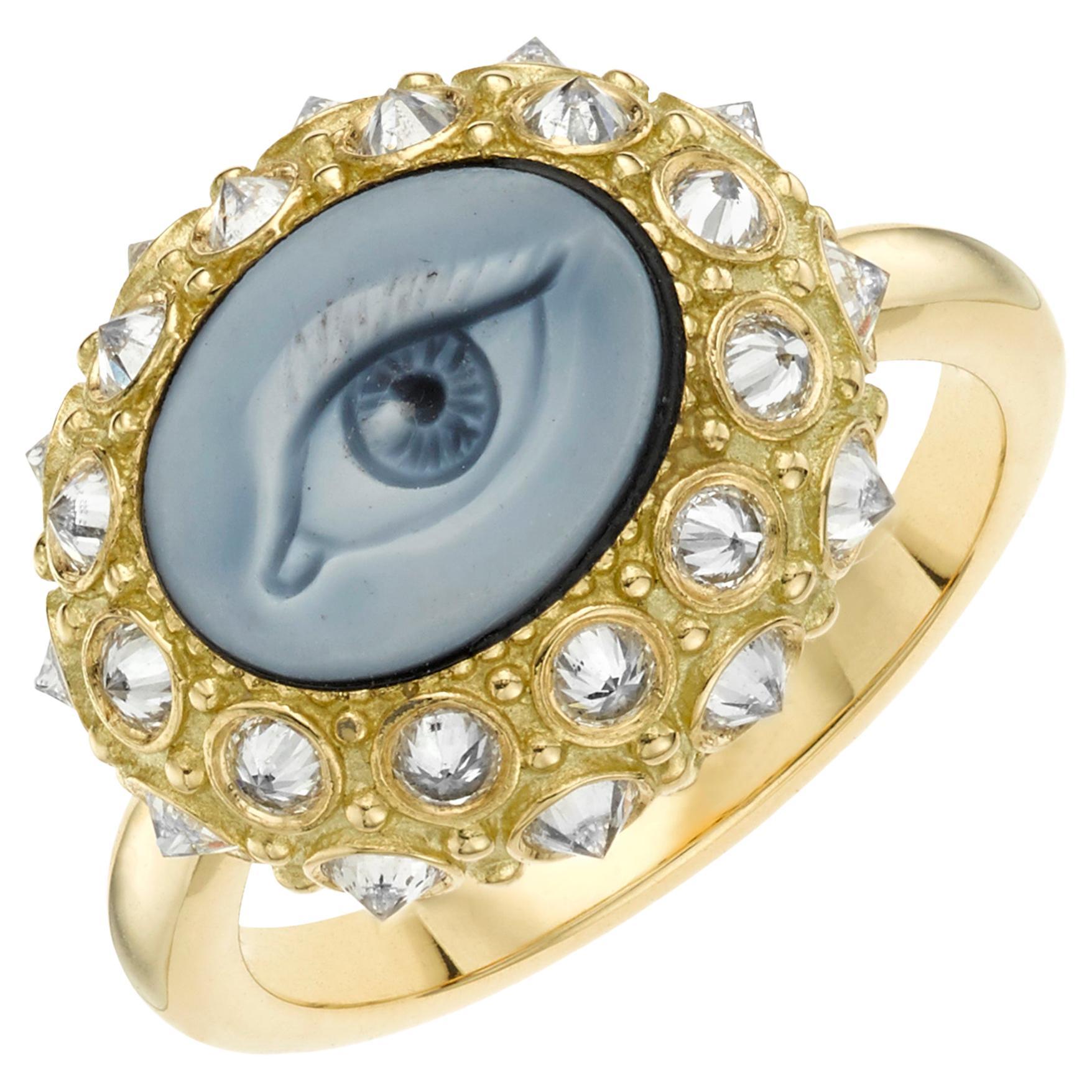 AnaKatarina Customizable Carved, Agate Cameo, 18k Gold, Diamonds 'Eye See' Ring