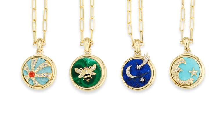AnaKatarina Elements 'Air' Pendant in 18 Karat Gold, Chilean Lapis, and Diamonds 5