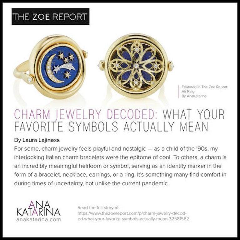 AnaKatarina Elements 'Air' Pendant in 18 Karat Gold, Chilean Lapis, and Diamonds 6