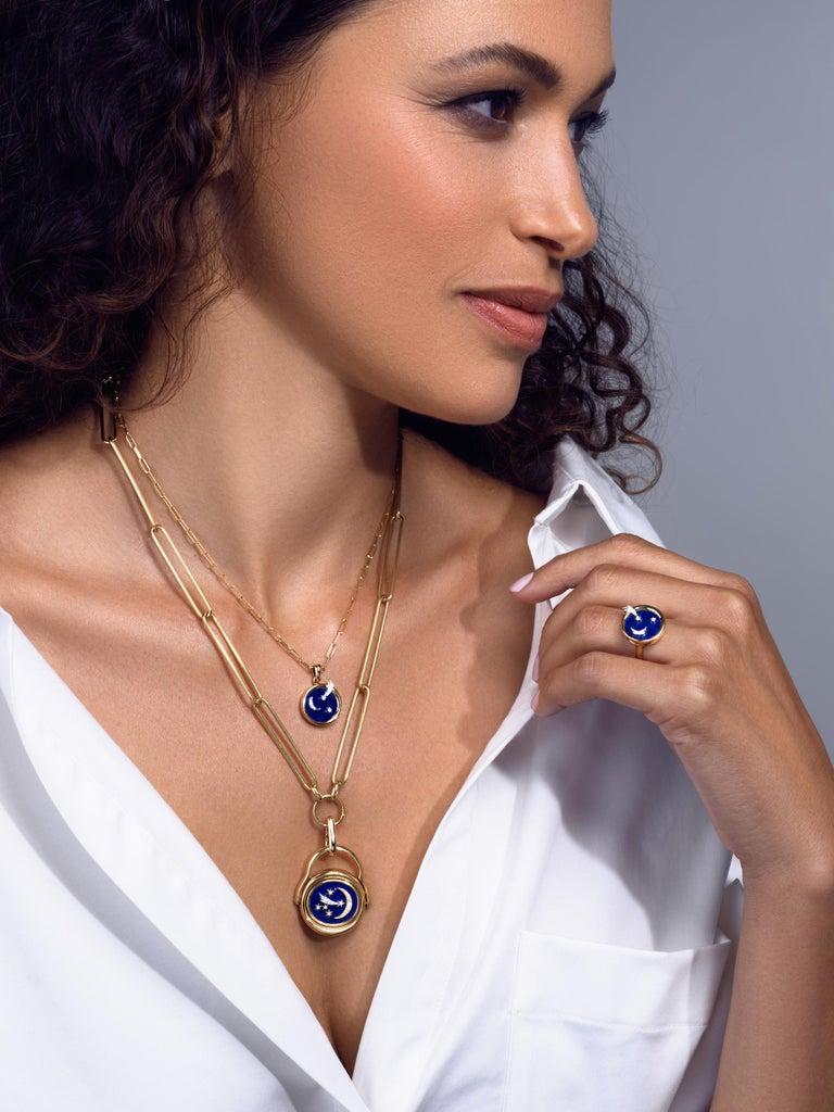 Women's AnaKatarina Elements 'Air' Pendant in 18 Karat Gold, Chilean Lapis, and Diamonds