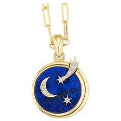 AnaKatarina Elements 'Air' Pendant in 18 Karat Gold, Chilean Lapis, and Diamonds