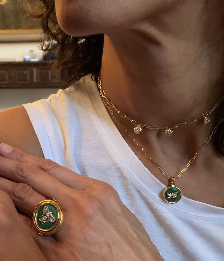 Contemporary AnaKatarina Elements 'Earth' Pendant in 18k Gold, Malachite, Ruby, and Diamond For Sale