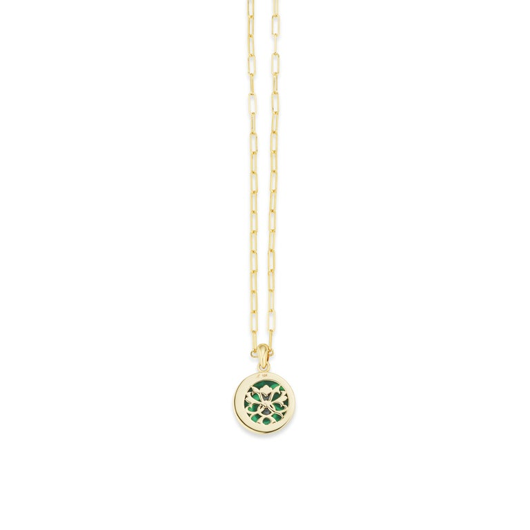 Women's or Men's AnaKatarina Elements 'Earth' Pendant in 18k Gold, Malachite, Ruby, and Diamond For Sale