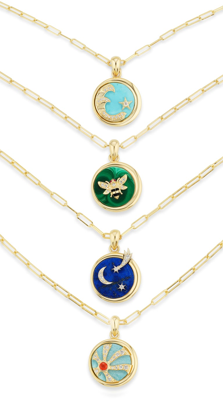 AnaKatarina Elements 'Earth' Pendant in 18k Gold, Malachite, Ruby, and Diamond For Sale 1