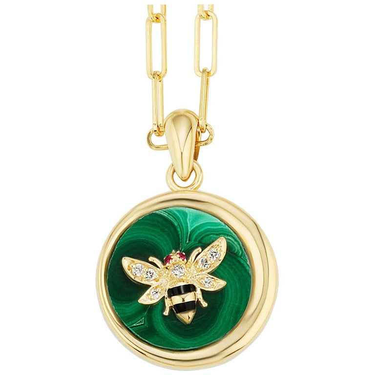 AnaKatarina Elements 'Earth' Pendant in 18k Gold, Malachite, Ruby, and Diamond For Sale