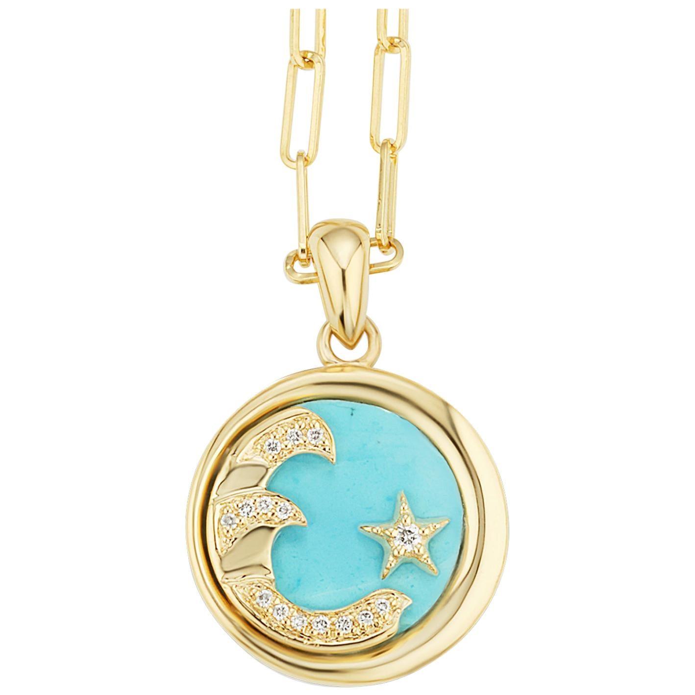 AnaKatarina Elements 'Water' Pendant in 18 Karat Gold, Turquoise, and Diamonds