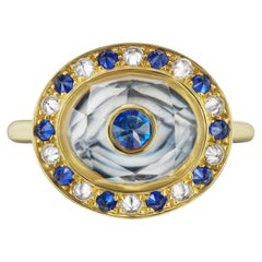 "AnaKatarina Hand Carved Agate, Gold, Sapphire and Diamond ""Eye Love"" Locket Ring"