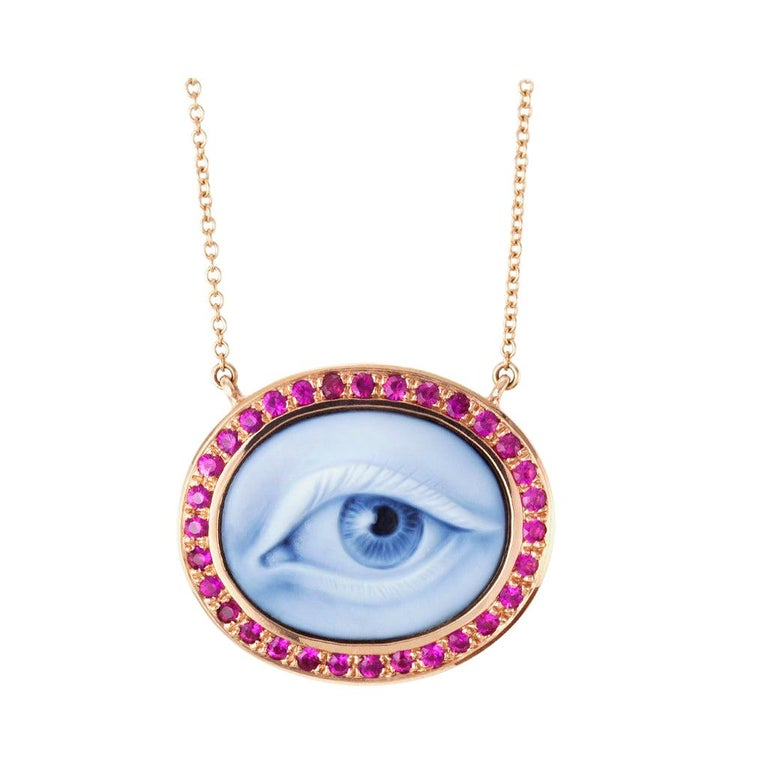 """AnaKatarina Hand Carved Agate, Pink Rubies and Rose Gold """"Lover's Eye"""" Necklace For Sale"""