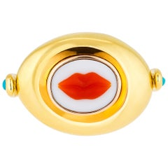 AnaKatarina Hand Carved Lips Cameo Yellow Gold Flip Ring