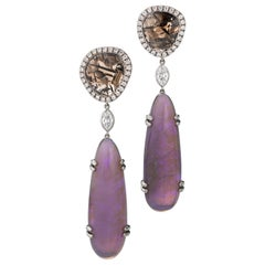 AnaKatarina Jelly Black Opal, Diamond, and 18K Gold Earrings
