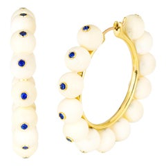 AnaKatarina Mammoth Ivory, Blue Sapphire and Yellow Gold Hoop Earrings