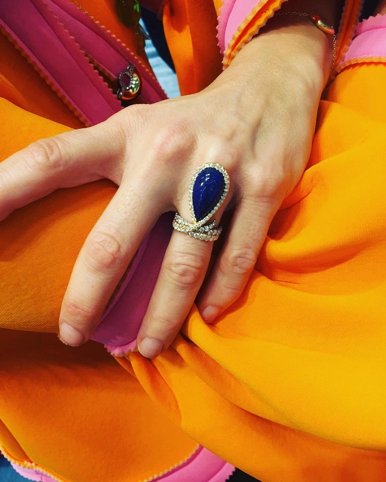 Round Cut AnaKatarina One-of-a-Kind Vintage Lapis, Yellow and White Gold and Diamond Ring For Sale